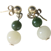 Vintage 14kt Gold White and Green Jade Ball Earrings
