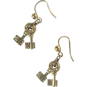 Antique Victorian 10kt Double Key Earrings