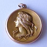 Antique Edwardian or Victorian Art Nouveau 14k Yellow Gold Pendant Picture Locket with Repouss