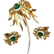 """Vintage Signed Boucher Sugarloaf Cabochon Large 3-1/2"""" Flower Pin with Matching Clip Earr"""