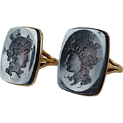 Matched Facing Pair of Antique Edwardian Carved Sardonyx Intaglio 10k Gold Rings