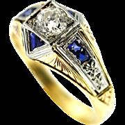 Men's Art Deco Diamond Sapphire and Gold Ring