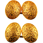 Charming Antique English 15CT Gold Cuff Links