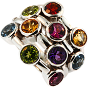 Vintage 14KT White Gold Multi Colored Gemstone Ring