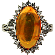 Vintage Fire Opal Platinum Diamond Ring