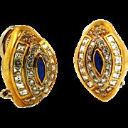 SALE Vintage High Quality Diamond and Sapphire Earrings