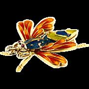 Vintage 18KT Gold and Enamel Bug Brooch