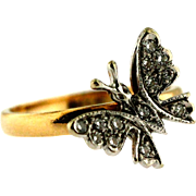 Darling Vintage Diamond and Gold Butterfly Pinky Ring