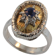 SALE Vintage 18KT White and Yellow Gold Sapphire Ring