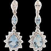 Vintage 14KT Gold Aquamarine and Diamond Earrings