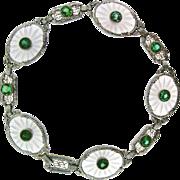 Art Deco Gold Rock Crystal and Zircon Bracelet