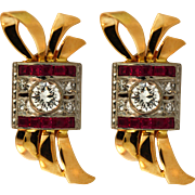 Retro Yellow Gold Platinum Diamond and Synthetic Ruby Earrings