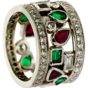 Vintage 19KT White Gold Emerald Ruby and Diamond Custom Made Band