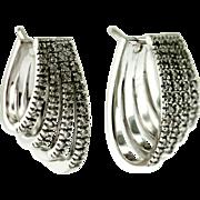 Vintage 18KT Diamond Hoop Earrings