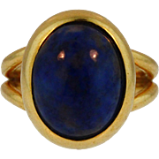 Vintage Italian Classic 18KT Yellow Gold Lapis Lazuli Ring