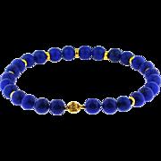 Vintage Stunning Lapis Lazuli and 14KT Gold Necklace
