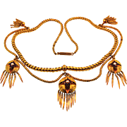 Exceptional Victorian Gold Enamel and Pearl Necklace