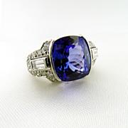 Vintage Hand Made Platinum Tanzanite and Diamond Ring
