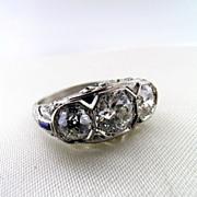 Classic Filigree, Art Deco Platinum, Sapphire and 3-Stone Diamond Ring