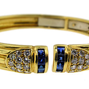 Classic Yellow Gold, Sapphire and Diamond Bangle