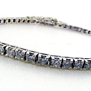 Delicate 14KT White Gold and Diamond Tennis Bracelet
