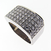 Vintage Modernist Custom Made Platinum and Diamond Ring