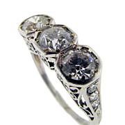 Hand Made Platinum Art Deco 3-Stone Ring