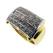 Custom Made Vintage Diamond and 18KT Yellow Gold Ring