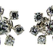 Vintage Hand Made Platinum 1.34 cts Diamond Earrings