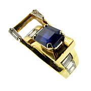 Hand Made Modernist Sapphire and Diamond Ring