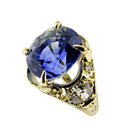 Hand Made Vintage Sapphire and Diamond Yellow Gold Ring
