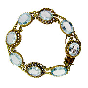 Vintage 18 KT Yellow Gold Aquamarine Bracelet