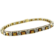 Vintage Custom Made Yellow Gold and Diamond Tennis Bracelet