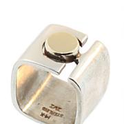Modernist Sterling and 14KT Gold Ring