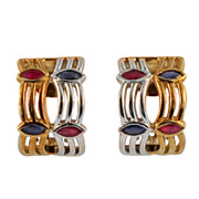 Hand Made Vintage Birks Gold, Ruby and Sapphire Earrings