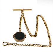 Antique 18KT Yellow, Gold Watch Chain with 9KT Gold Blood Stone Swivel Fob