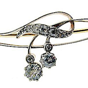 Art Nouveau 18kt Gold and Diamond Brooch