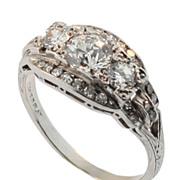 Art Deco Hand Made Platinum and Diamond Ring