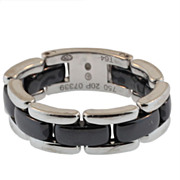 Chanel 18KT White Gold and Black Ceramic Articulated Ring
