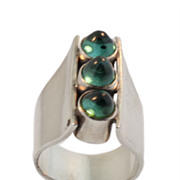 Modernist Silver and Tourmaline Cabochon Gem Stone Ring