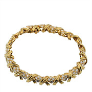 Tiffany & Co. Yellow Gold and Diamond X Bracelet