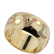 Exceptional Bvlgari Signature 18KT Yellow Gold Diamond Ring