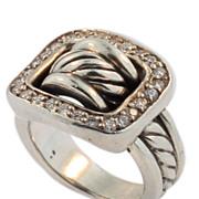 Vintage David Yurman Sterling Silver and Diamond Buckle Ring