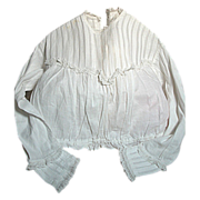 Small Antique blouse white cotton Pleats, Lace, Draw string at waist