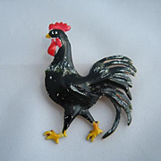 Sterling Enamel Rooster Signed ORIGINAL by ROBERT Designer Pin