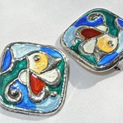 Modernist Oystein Balle Norwegian Sterling Enamel Earrings