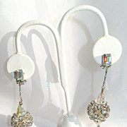 Vintage Rhinestone Crystal Ball and Faux Pearl Long Earrings