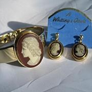 Whiting & Davis Cameo Bracelet and Earring Set