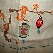 "Antique taiwan hand embroidered on linen table cloth 34x34"" lanterns"