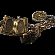 Antique Victorian mourning hair Charm Bracelet Gold filled